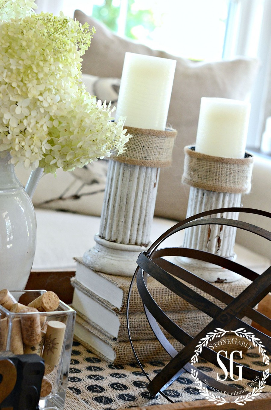 HOW TO CREATE A TRANSITIONAL VIGNETTE-transitional candlesticks- stonegableblog.com