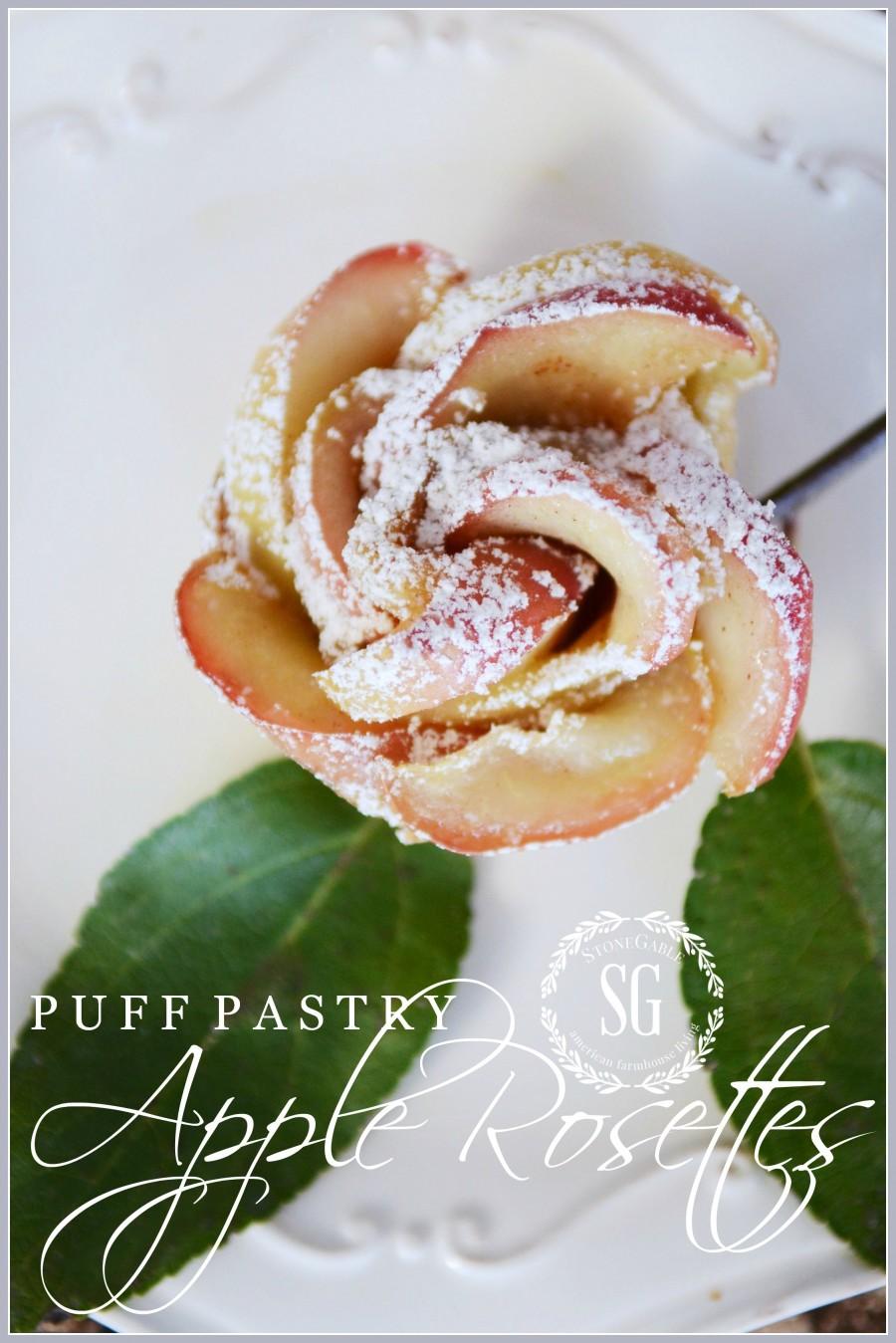PUFF PASTRY APPLE ROSETTES- delicous, gorgeous and easy-peasy dessert-stonegableblog.com