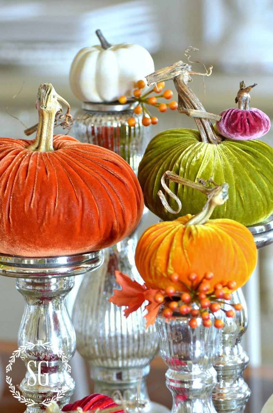 5 BEAUTIFUL WAYS TO STYLE PUMPKINS-pumpkins-candlesticks- stonegableblog.com