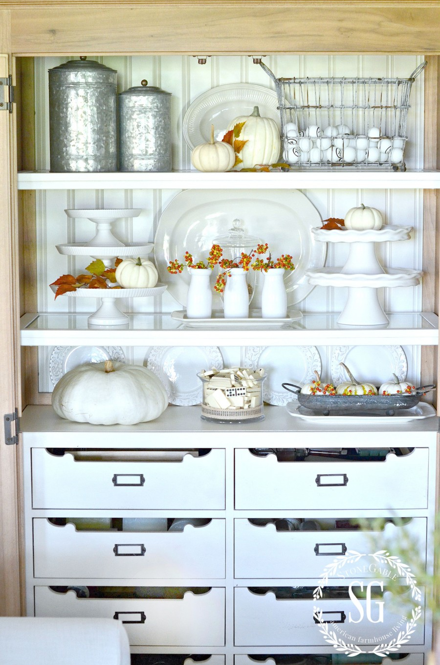 DESIGNER TRICKS FOR BEAUTIFULLY ARRANGED SHELVES- We can do this! -stonegableblog.com