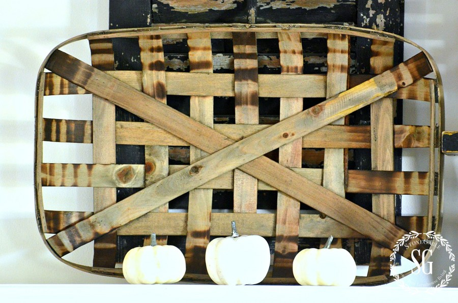 FALL MANTEL FARMHOUSE STYLE- Creating a simple farmhouse mantel with a fall touch! -stonegableblog.com