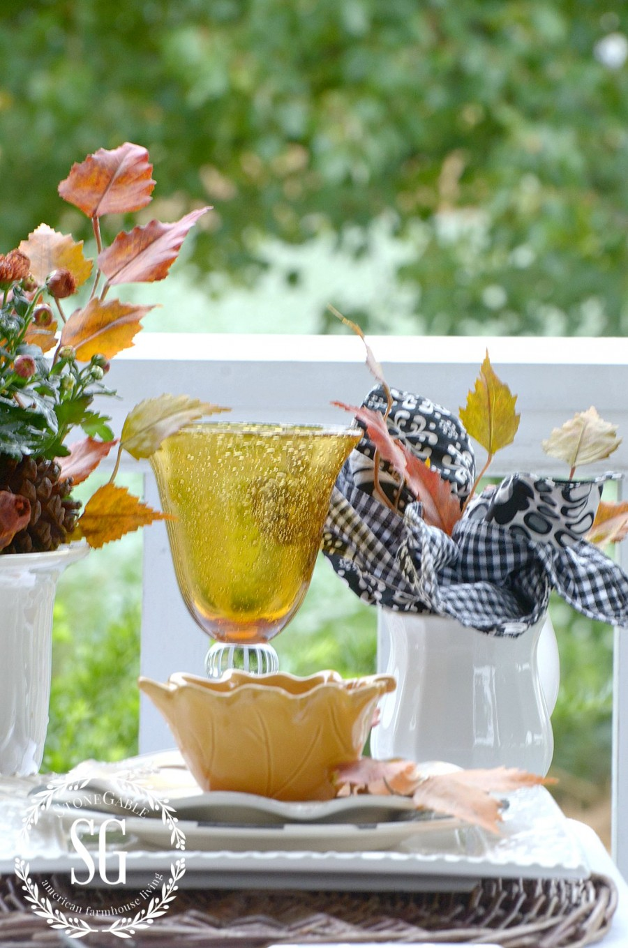 FALL TABLESCAPE ON THE BACK PORCH-Setting an eary fall table with autumnal colors and elements-stonegableblog.com