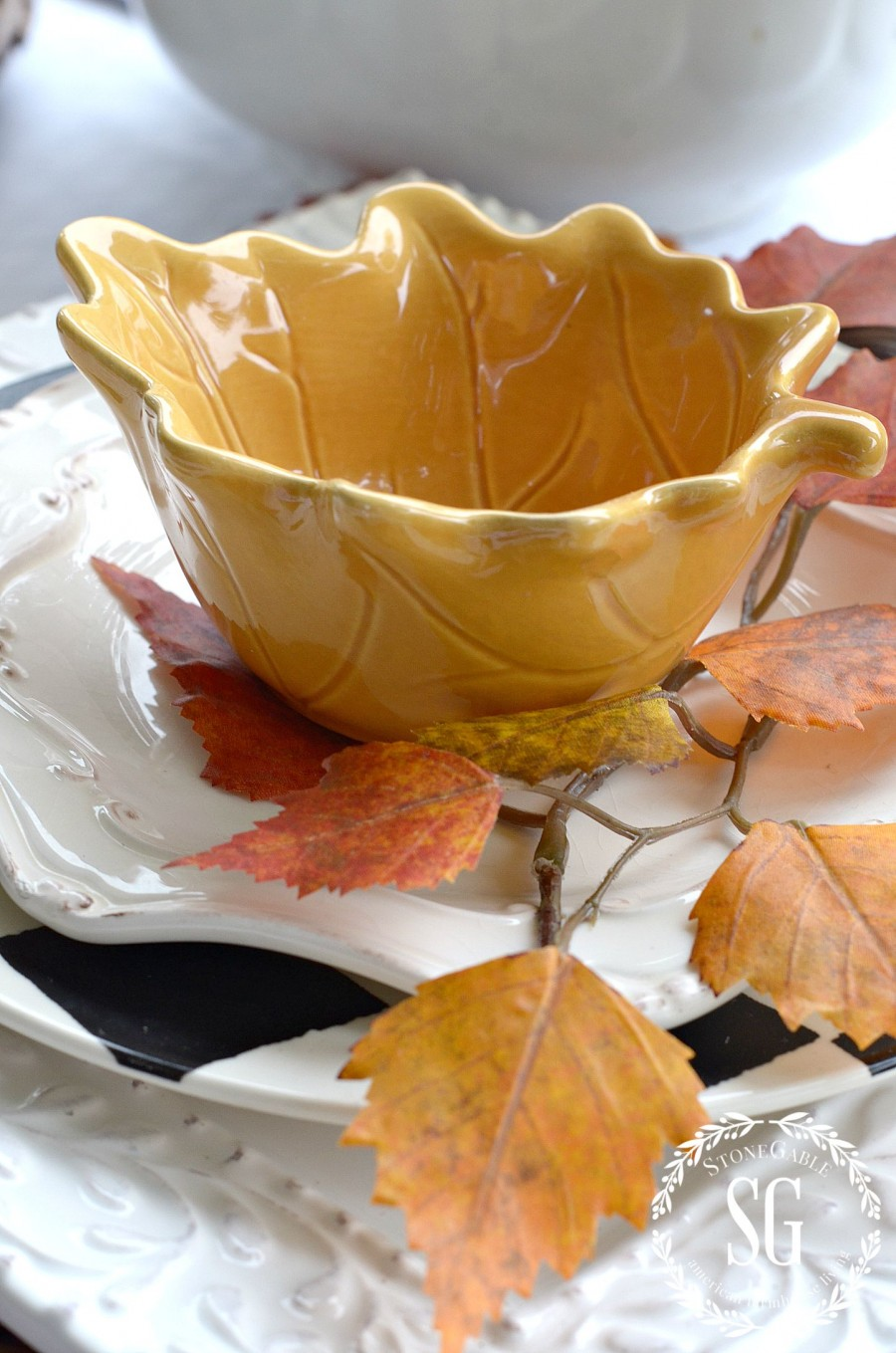 FALL TABLESCAPE ON THE BACK PORCH-stacked-dishes-stonegableblog.com