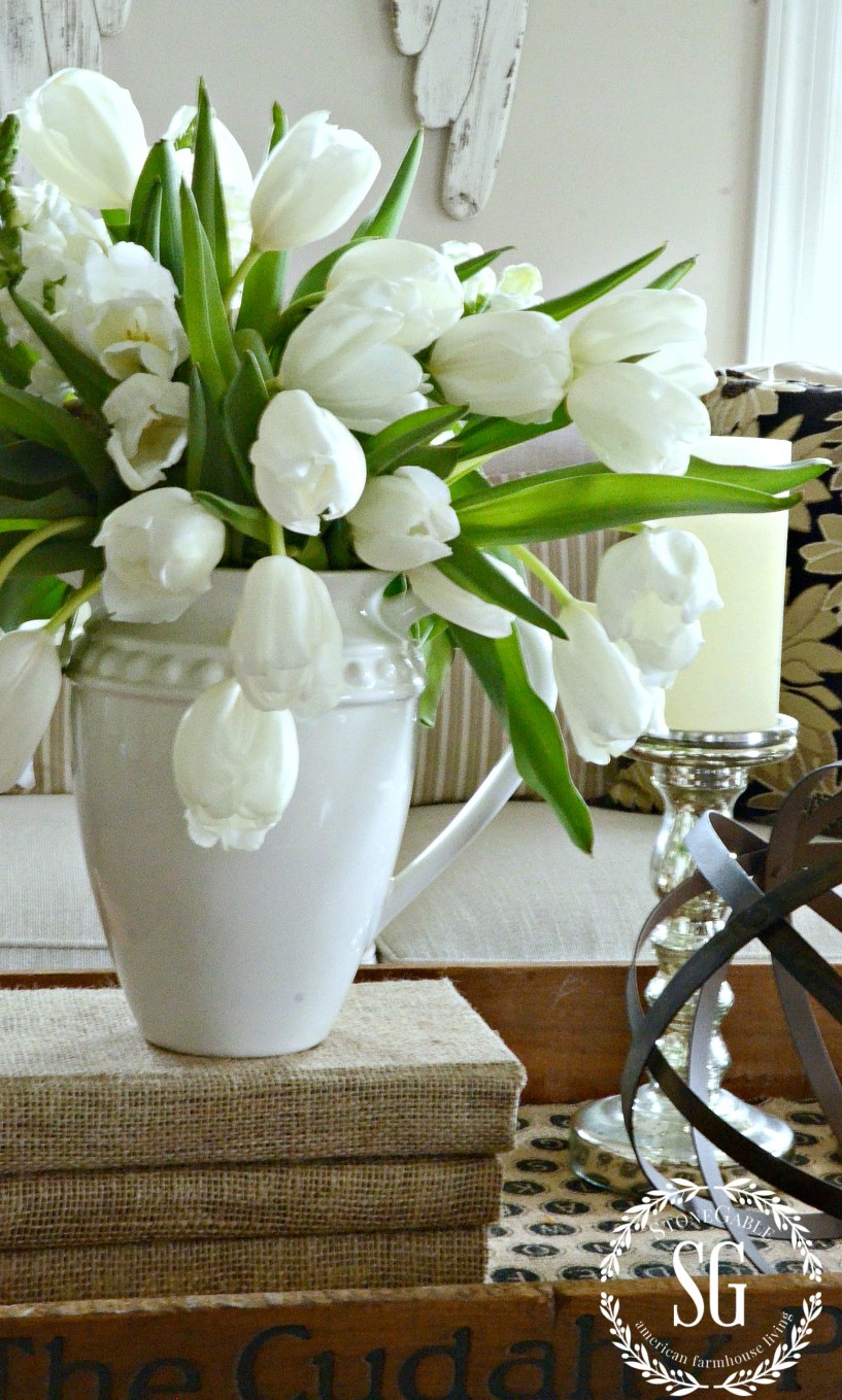 10 TIPS FOR ADDING POLISH AND CHIC TO A ROOM-fresh-flowers-same-color-stonegableblog.com