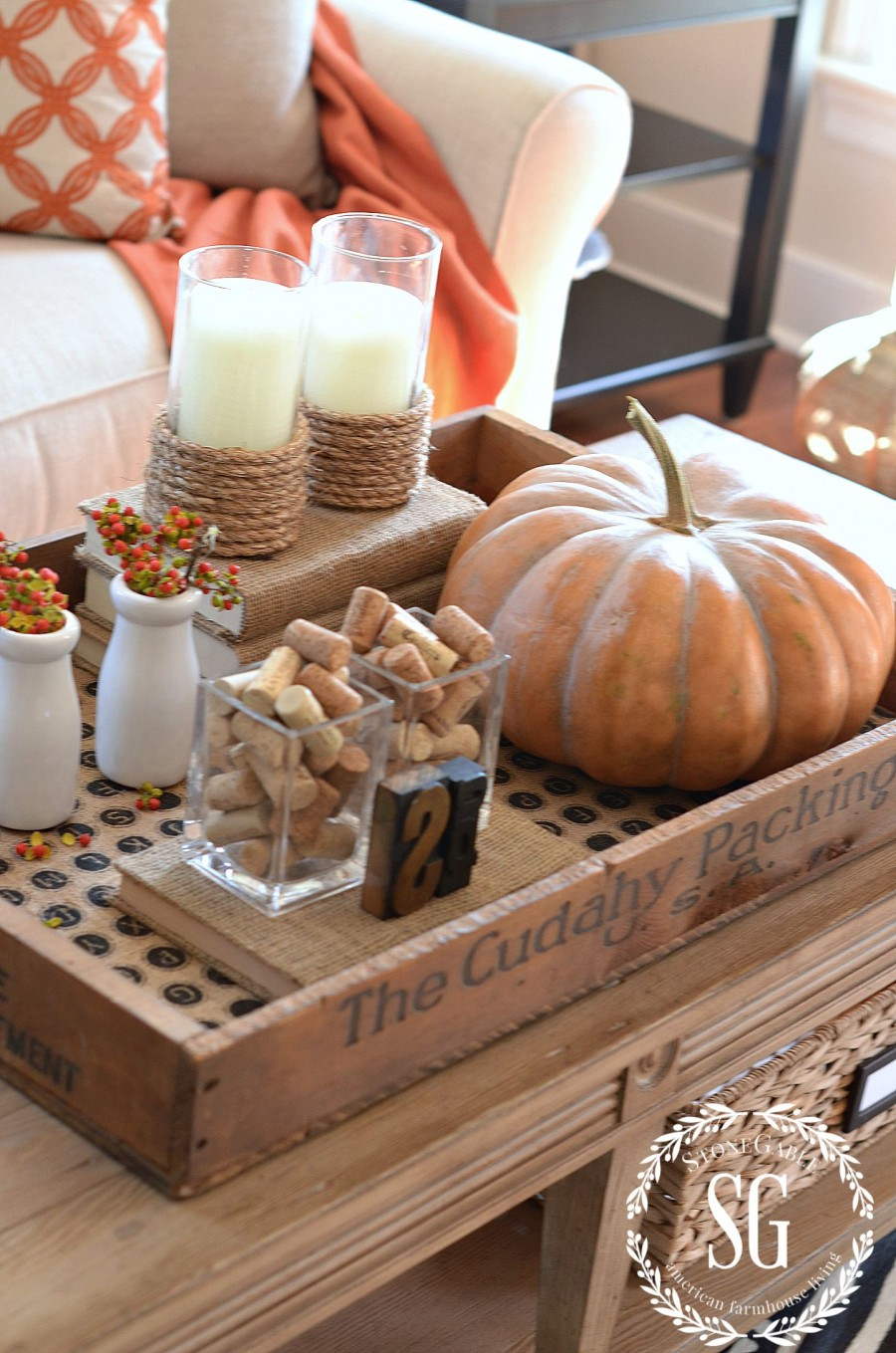 5 TIPS FOR CREATING A FABULOUS FALL VIGNETTE-crate-burlap-stonegableblog.com