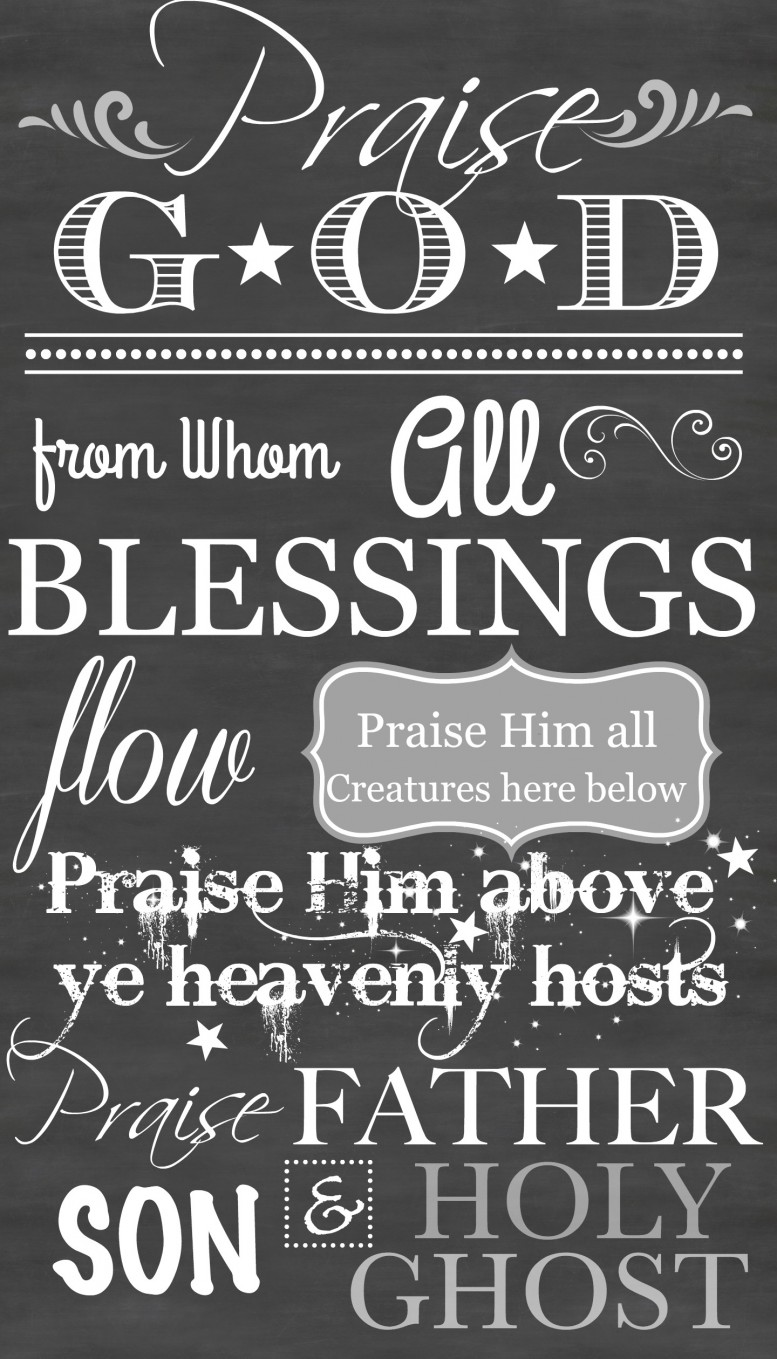 image relating to Free Chalkboard Printable identified as DOXOLOGY No cost CHALKBOARD PRINTABLE