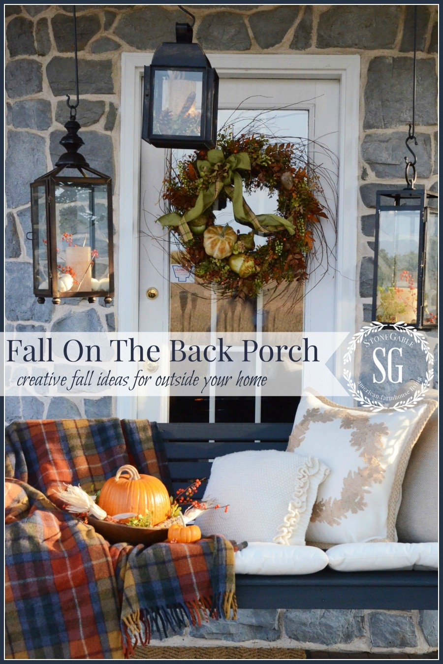 FALL BACK PORCH- swing on the back porch-cozy for fall-stonegableblog.com