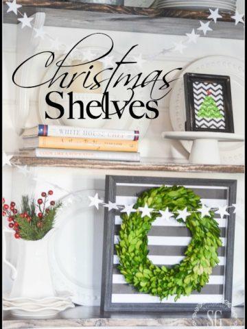 CHRISTMAS OPEN SHELVES- decorating shelves for the Holidays!