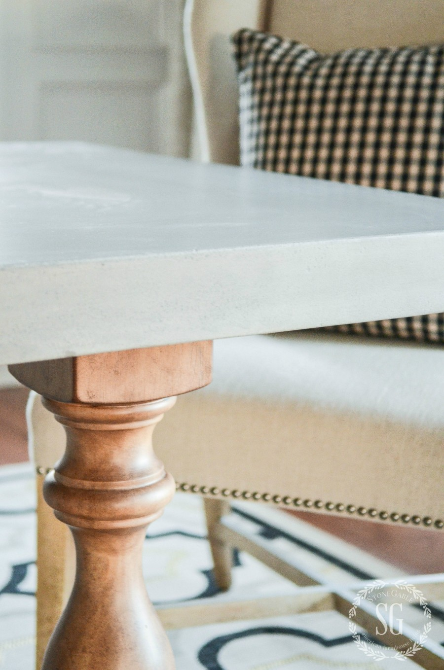A NEW DINING ROOM TABLE- A new kind of table with a concrete top