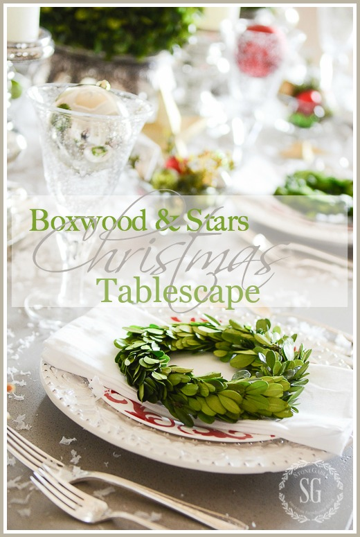 BOXWOOD AND STARS CHRISMAS TABLESCAPE