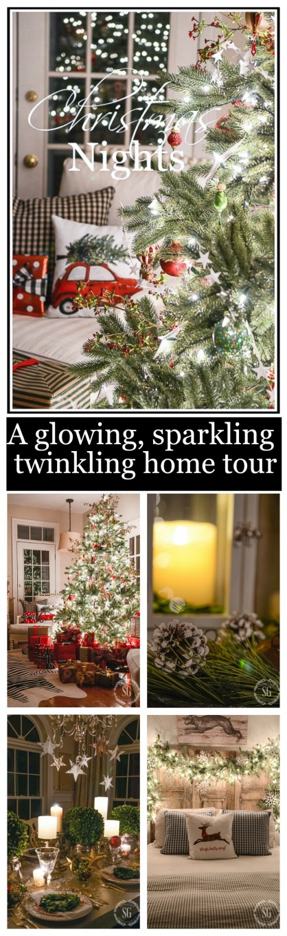 CHRISTMAS NIGHTS HOME TOUR- A glowing, sparkling, twinkling nighttime Christmas tour.