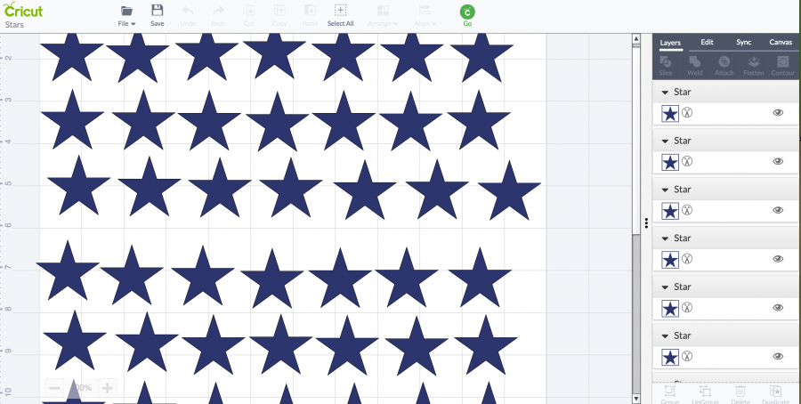 STAR GARLAND- screenshot of Cricut-stonegableblog.com
