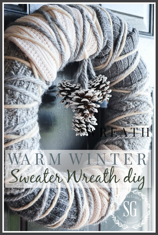 WARM WINTER SWEATHER WREATH-A beautiul winter wreath that anyone can make-