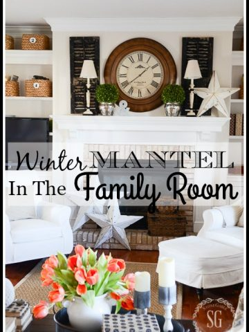 WINTER MANTEL 2016-A classic mantel with a farmhouse feel.