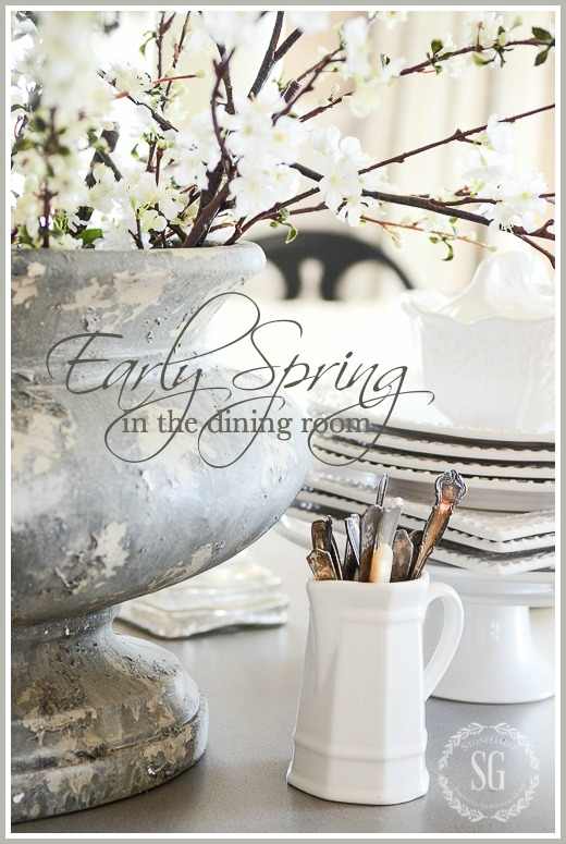 EARLY SPRING IN THE DINING ROOM- Budding branches and white dishes
