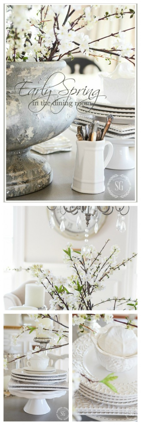 EARLY SPRING IN THE DINING ROOM- Budding branches and white dishes. Capturing the beauty of the first signs of spring.