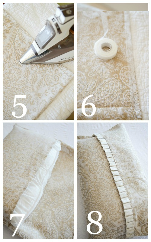 NO SEW DISH TOWEL PILLOW DIY. Make a custom pillow with a dishtowel! So easy!