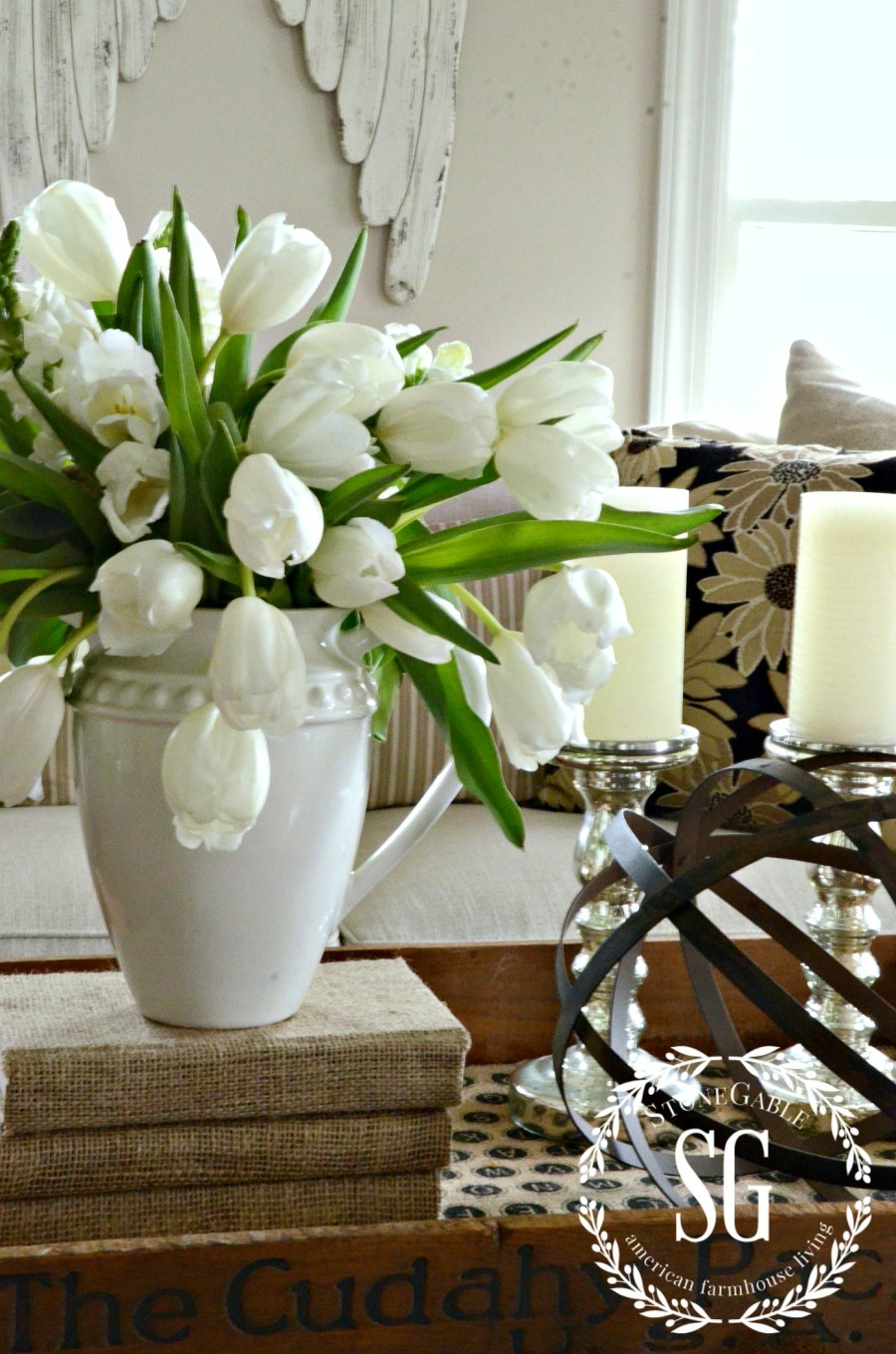 5 INEXPENSIVE WAYS TO REFRESH YOUR LIVING ROOM- Add something alive-stonegableblog.com
