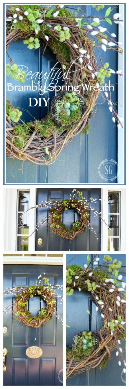BEAUTIFUL BRAMBLY SPRING WREATH- Easy to make spring wreath with pussy willows, moss and nests. All perfect for spring!