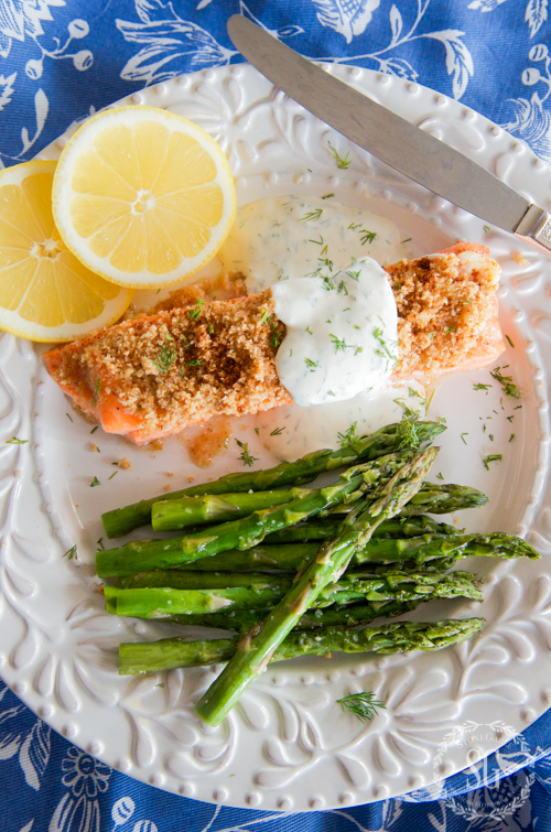 http://www.epicurious.com/recipes/food/views/baked-mustard-crusted-salmon-with-asparagus-and-tarragon-56389444