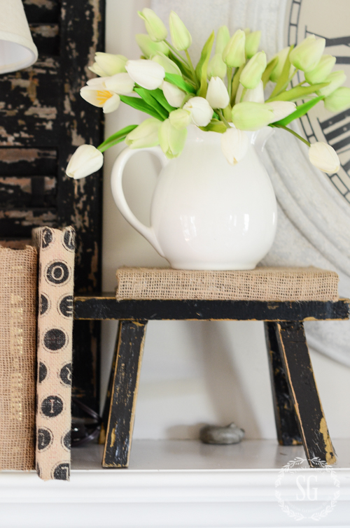 DIY SPRING MANTEL-A spring mantel styled with diy projects