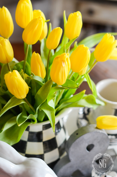 YELLOW AND BLACK SPRING KITCHEN VIGNETTE -White rabbit soup tureen, black and white checks and BRIGHT yellow tulips!