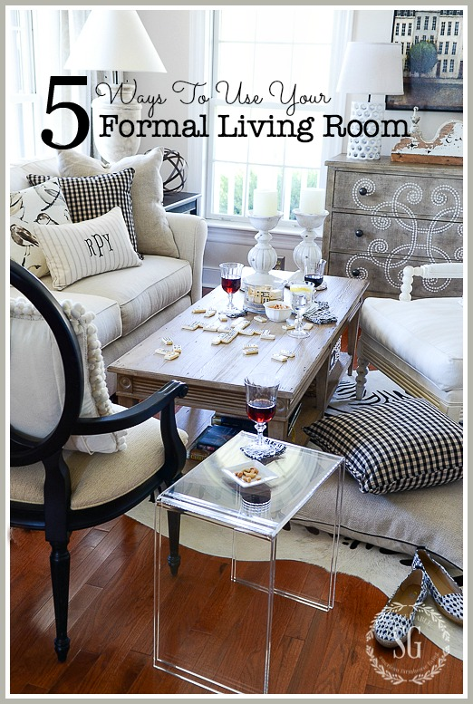 5 WAYS TO USE YOUR FORMAL LIVING ROOM- Don't let your formal living room collect dust. USE it! Here are 5 ways to spend time in the prettiest room in your home!
