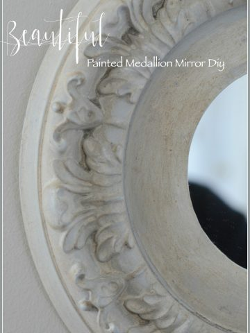 BEAUTIFUL PAINTED MEDALLION MIRROR DIY- Change a plastic ceiling medallion into a work of art mirror. Easy diy with loads of instructions and images.