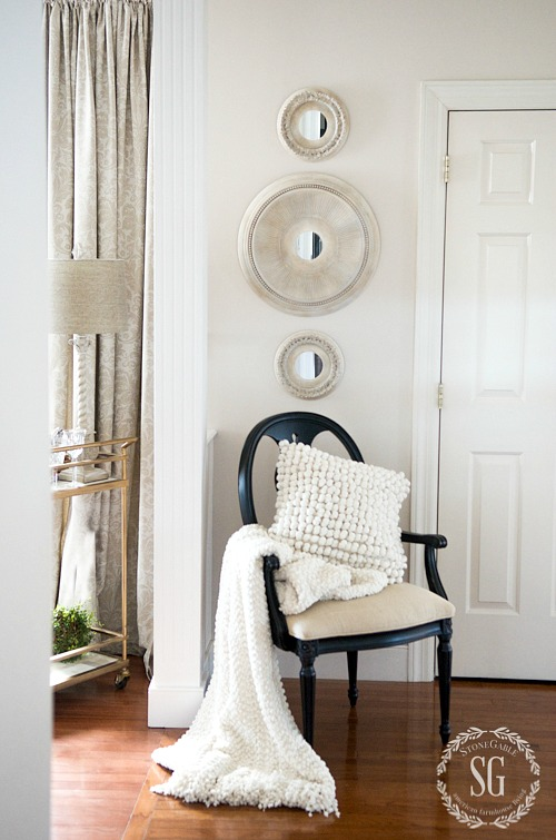 BEAUTIFUL PAINTED MEDALLION MIRRORS DIY-hung-in-the-foyer-stonegableblog.com