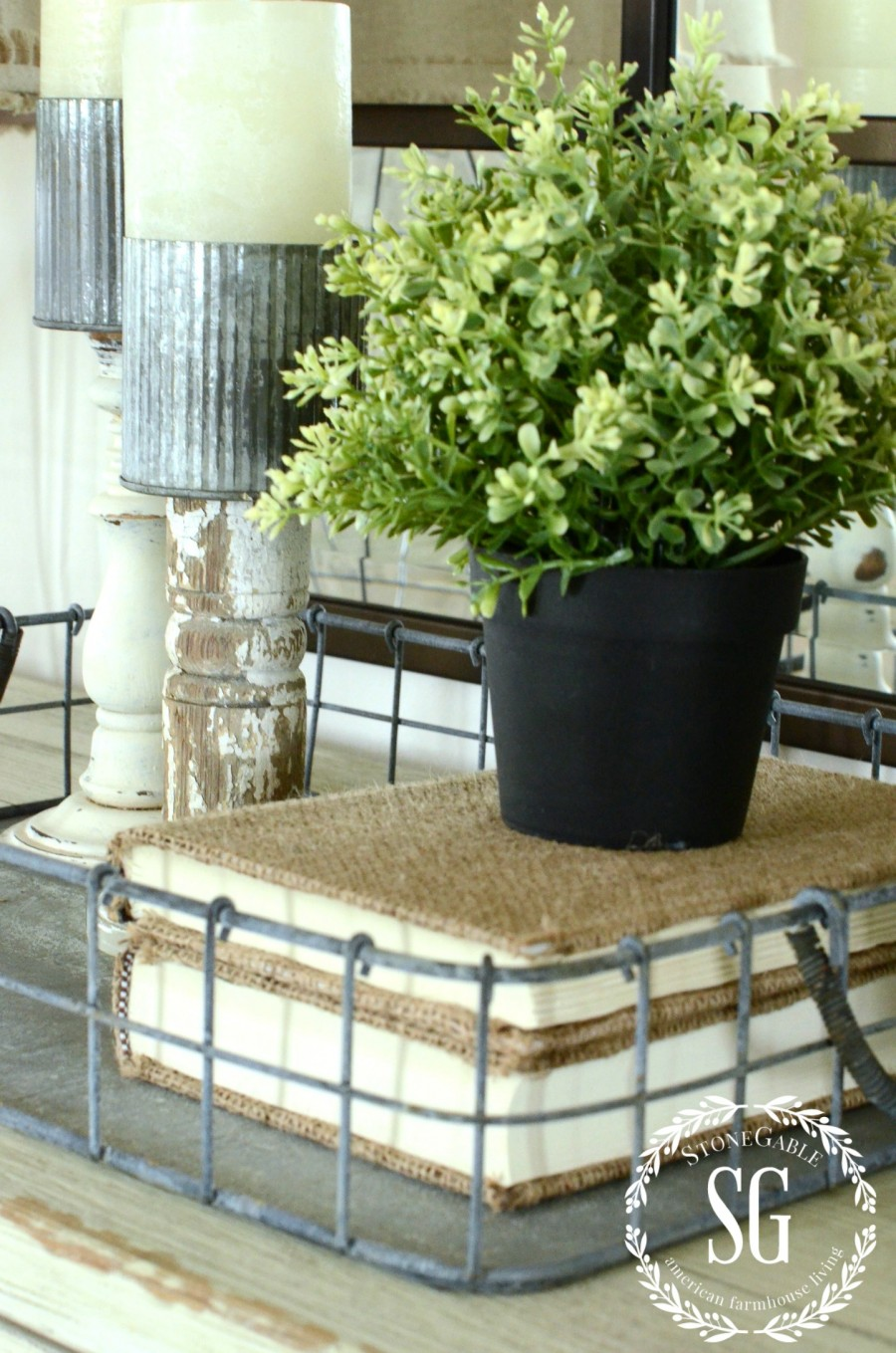 BUFFET IN FOYER-wire basket -stonegableblog.com