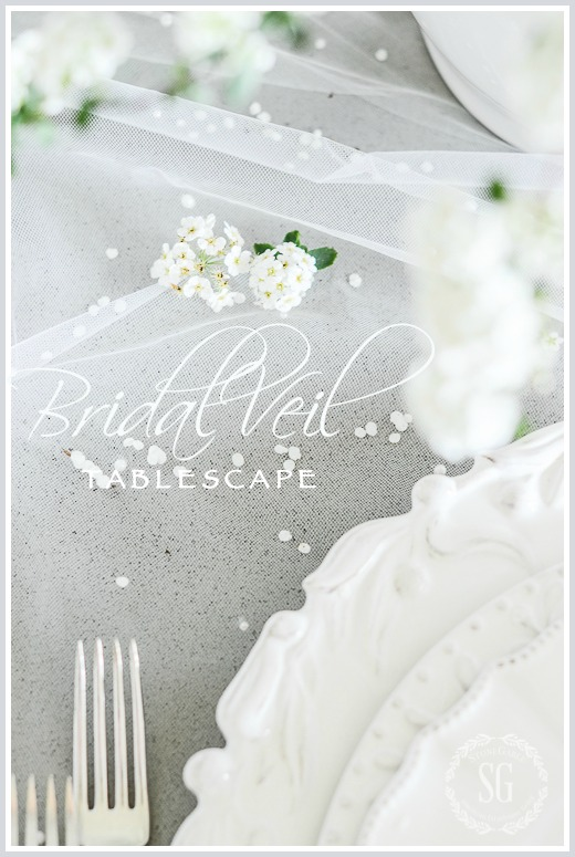 BRIDAL VEIL TABLESCAPE- A TABLE SET FOR A BEAUTIFUL BRIDE AND LOTS OF TABLESCAPING TIPS