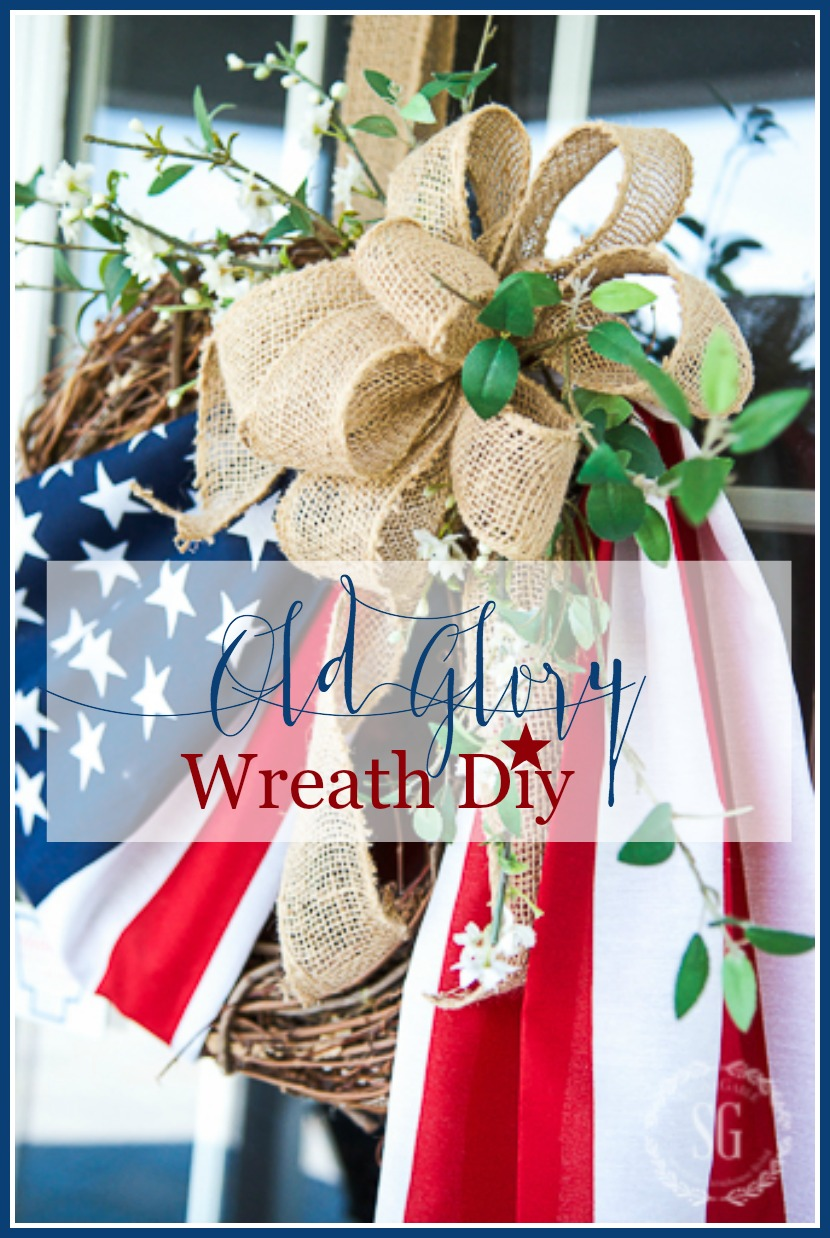 OLD GLORY WREATH DIY. You can make this easy and patriotic wreath this summer. A nice tribute to our country and those who love it. I