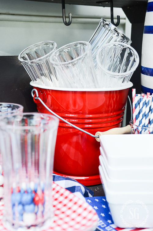 It's perfect to take the red and white handled flatware and the patriotic napkins outside!