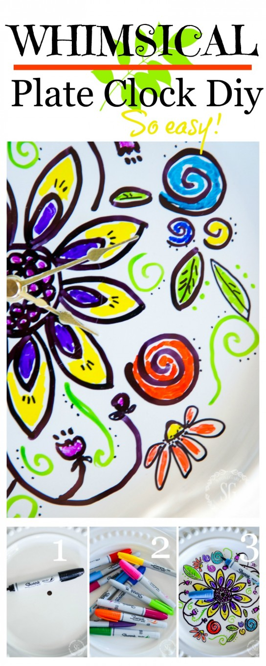 SHARPIE PAINT MARKER CLOCK- A very easy and fun clock make with your imagination and sharpie paint markers!
