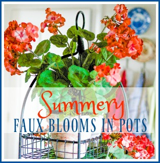 10 minute decorating idea with diy summery faux blooms in pots!