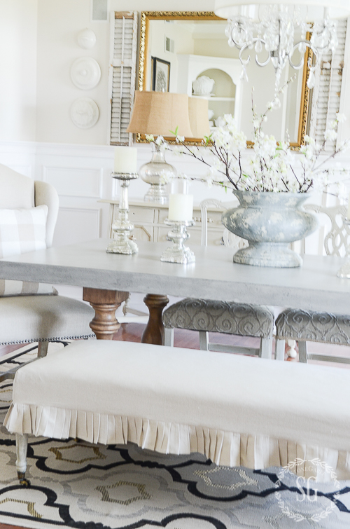 EASY DROPCLOTH SLIPCOVER-bench-in-dining-room-stonegableblog-2