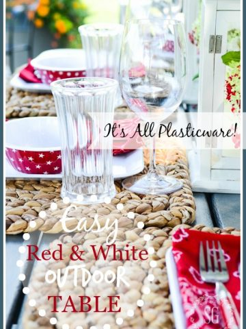 EASY RED AND WHITE OUTDOOR TABLE…FARMHOUSE STYLE!