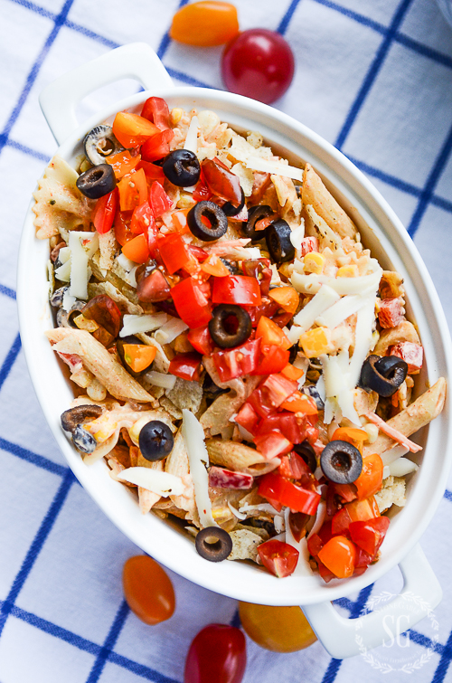 SCRUMPTIOUS SOUTHWEST PASTA SALAD. A perfect salad for a summer get-together. Add chicken and it is a meal.