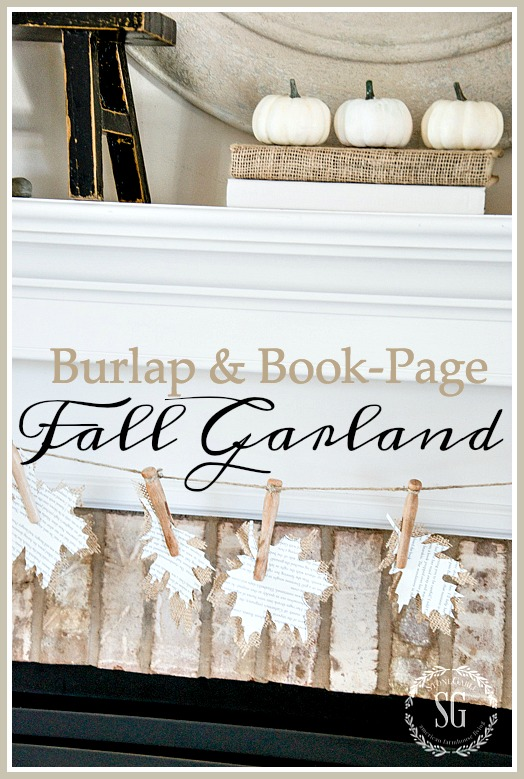 BURLAP AND BOOK-PAGE LEAF GARLAND-And easy to make garland!