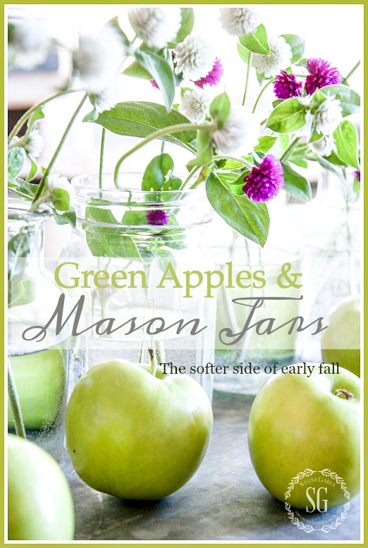 GREEN APPLES AND MASON JARS-An early fall centerpiece with a soft-color twist.