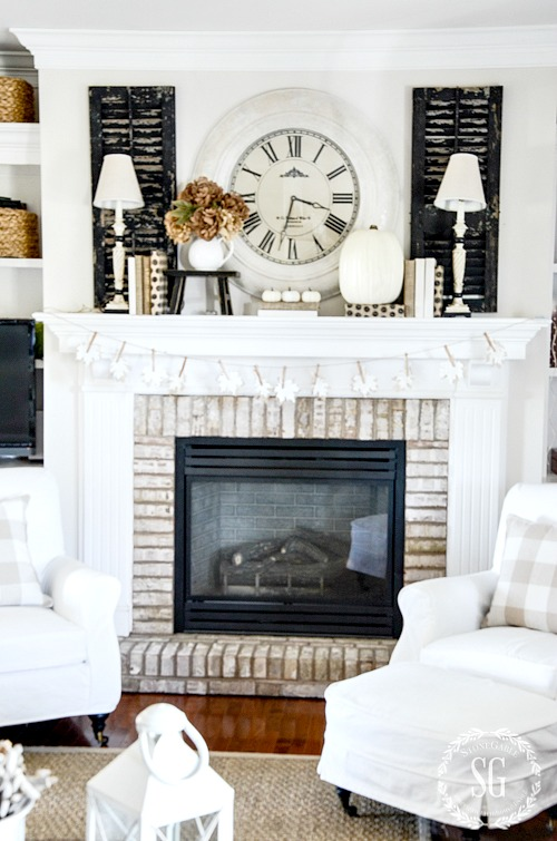 NEUTRAL FALL MANTEL-Creating a neutral and white fall mantel celebrating the softer side of Autumn!