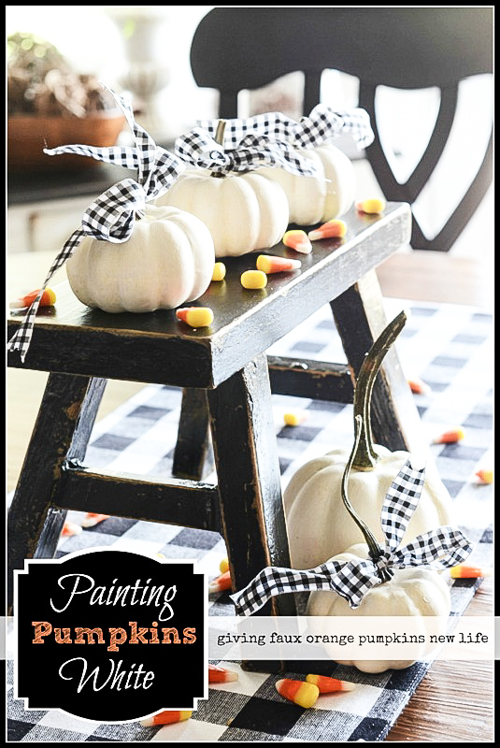 BLOG Painting Pumpkins White - An easy way to paint faux pumpkins to make them look amazingly real.