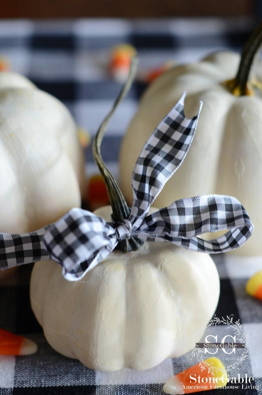 white pumpkin with checkered ribbon - stonegableblog.com