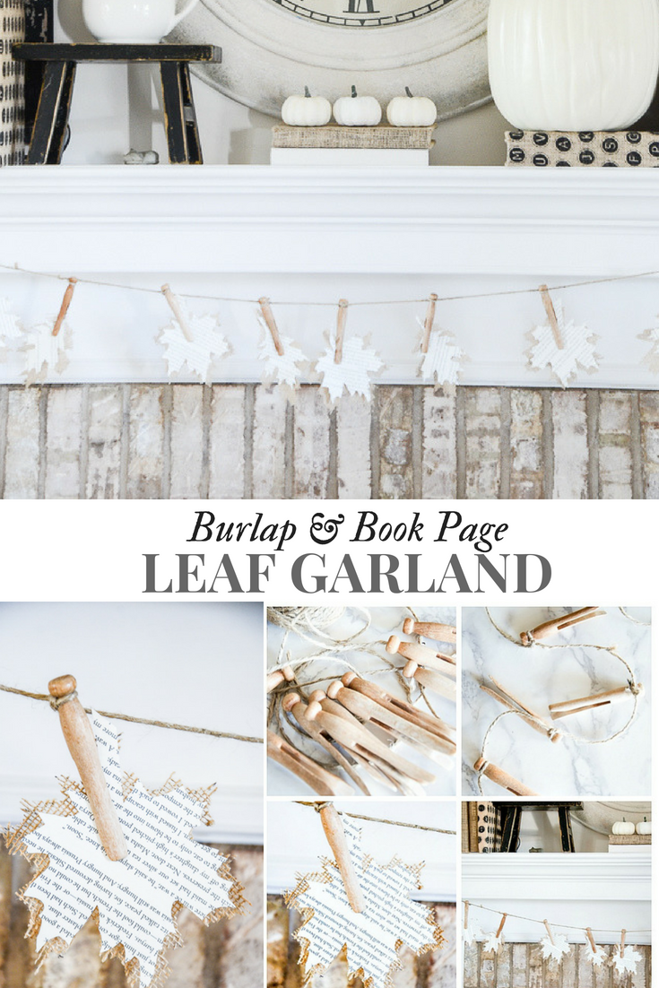 Burlap And Book Page Leaf Garland Stonegable