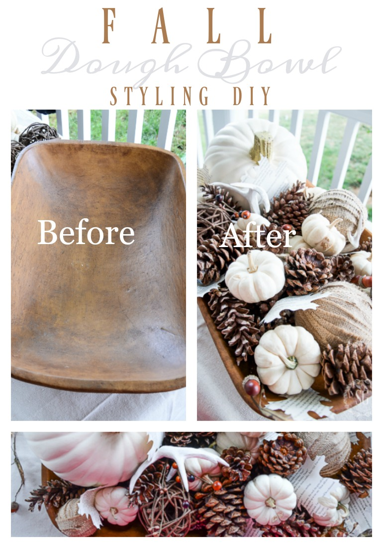 FALL DOUGH BOWL STYLING- A step-by-step diy for styling a fall arrangement in a dough bowl.