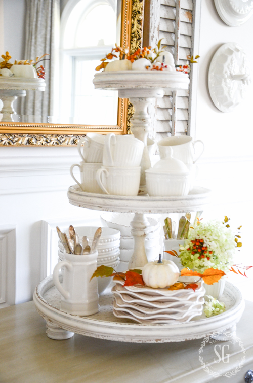 FALL TIERED TRAY-An easy and pretty way to decorate for fall. Even if you have a hard time decorating, YOU CAN DO THIS!
