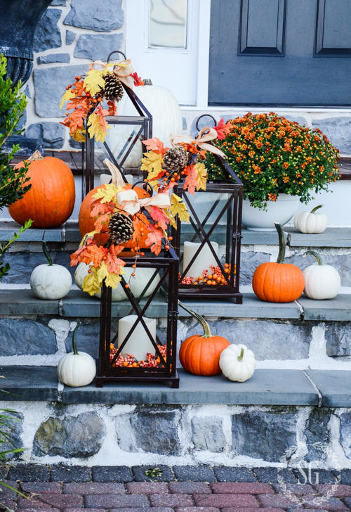 Autumn Floral Lanterns | Outdoor Fall Decorating Ideas To Kick Off The Holiday Season