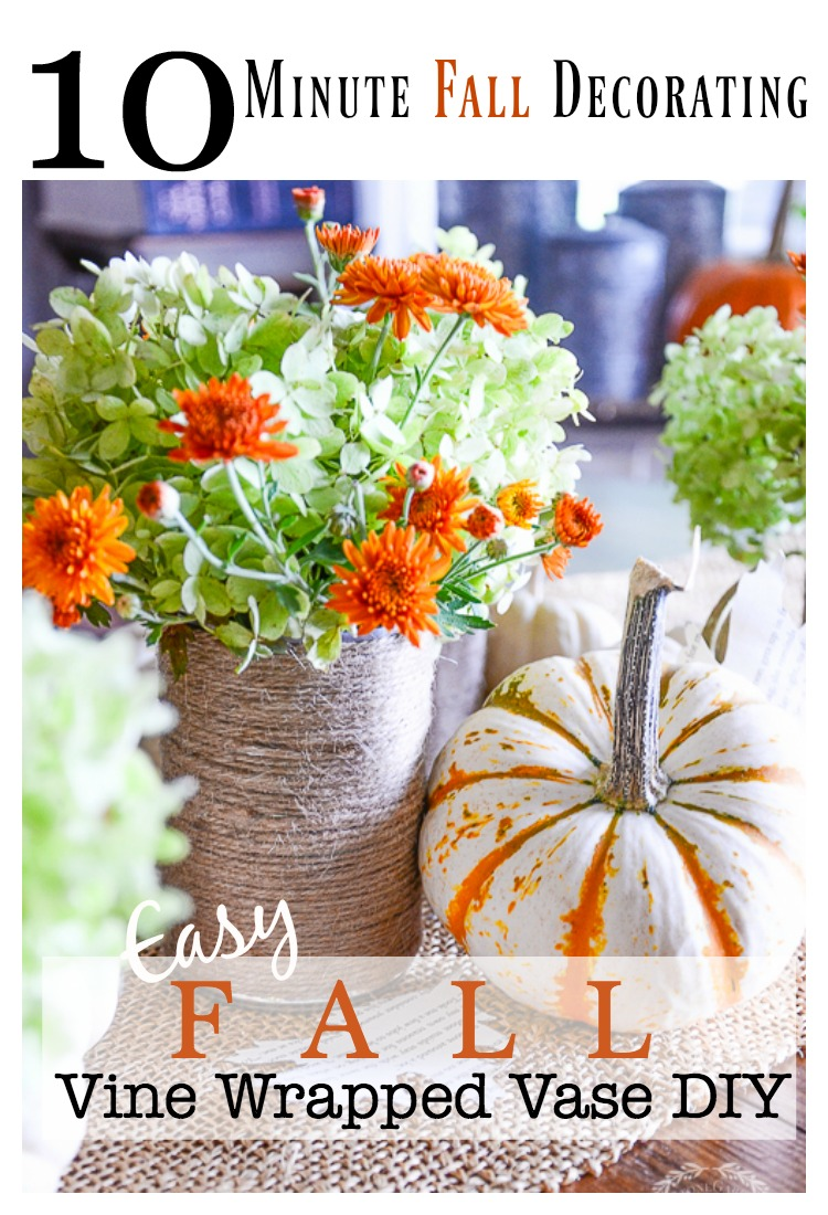 EASY FALL TWINE WRAPPED VASE DIY