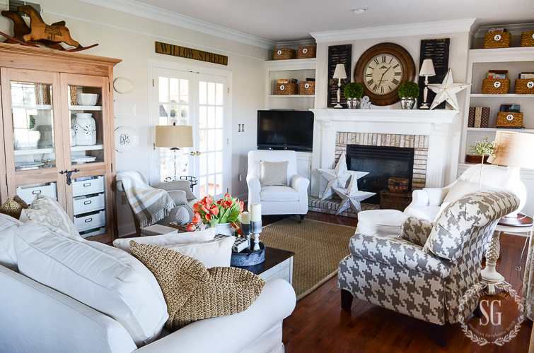 I painted the linen curtains that had been in the family room for several years...