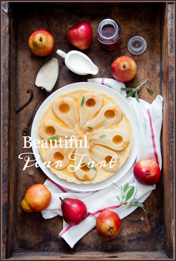 BEAUTIFUL AND SCRUMPTIOUS PEAR TART- A delicious fall into Christmas tart that is easy to make and melt-in-your-mouth amazing!